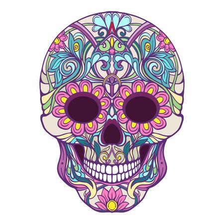 Zuckerschädel. Das traditionelle Symbol des Tages der Toten. Lagerlinie Vektor-Illustration. Standard-Bild - 85649575