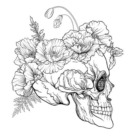 장식 무늬가있는 설탕 두개골