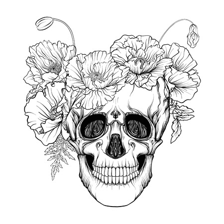 Sugar skull with decorative pattern Illustration