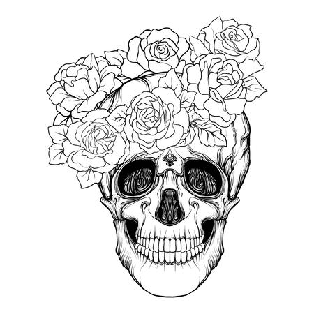 Suikerschedel met decoratief patroon en een krans van rode rozen. Voorraad regel vector illustratie. Overzichtstekening kleurplaat voor volwassen kleurboek.
