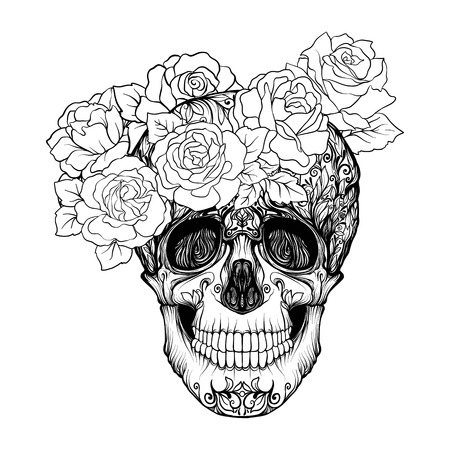 Sugar skull with decorative pattern and a wreath of red roses. Stock line vector illustration.  Outline hand drawing coloring page for adult coloring book.