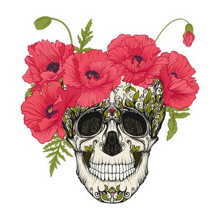 Cráneo del azúcar con el modelo decorativo y una guirnalda de amapolas rojas. Foto de archivo - 85651213