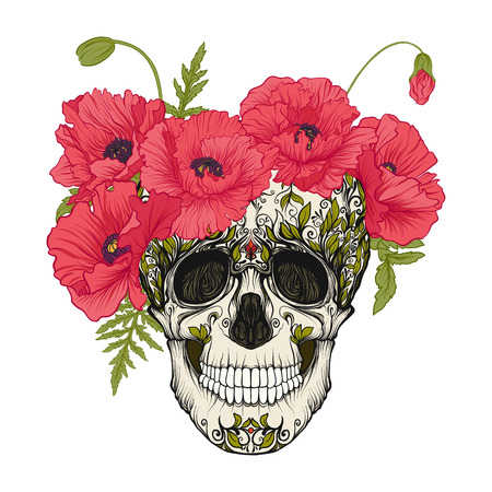 Sugar skull with decorative pattern and a wreath of red poppies. Ilustrace