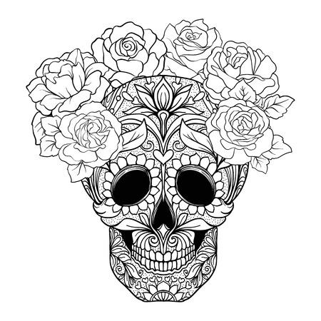 Sugar skull with decorative pattern Ilustração