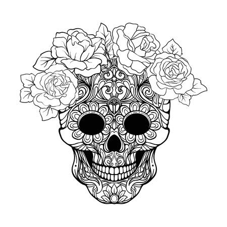 Suiker schedel met decoratief patroon