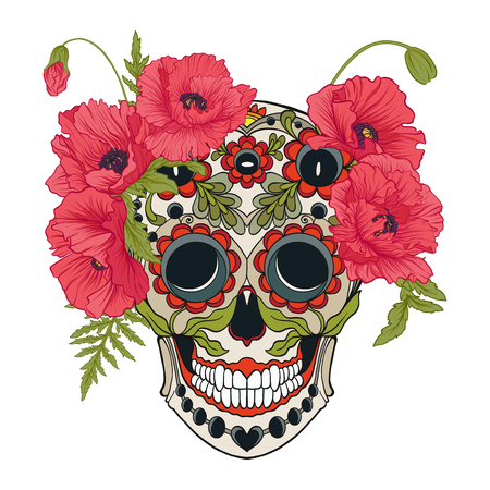 Sugar skull with decorative pattern and a wreath of red poppies. Ilustração