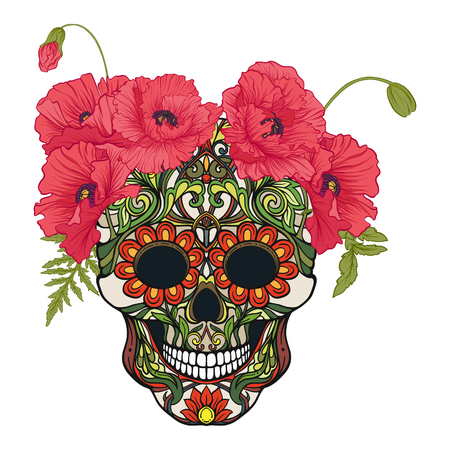 Sugar skull with decorative pattern and a wreath of red poppies. Vectores