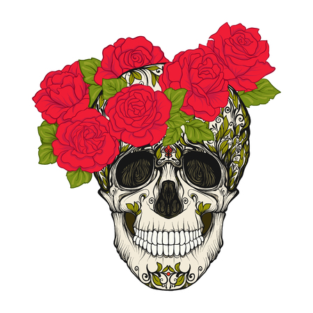 Sugar skull with decorative pattern and a wreath of red roses. Ilustracja