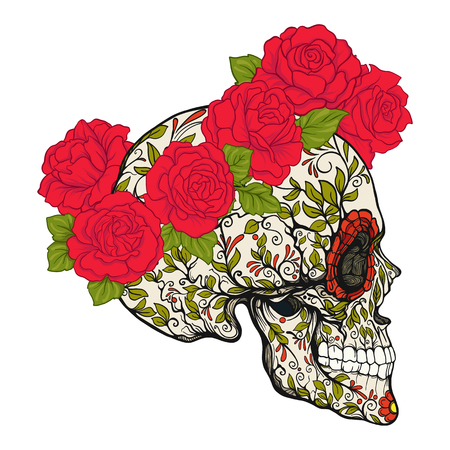 Sugar skull with decorative pattern and a wreath of red roses. Иллюстрация
