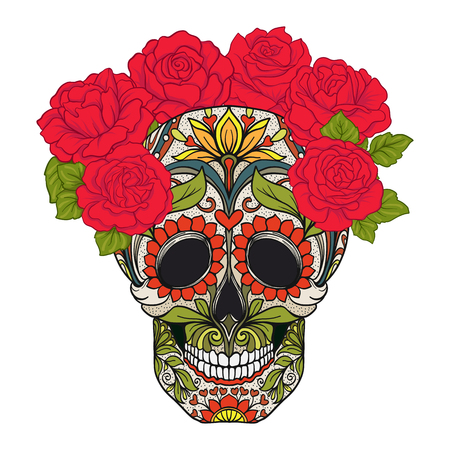 Sugar skull with decorative pattern and a wreath of red roses. Illustration