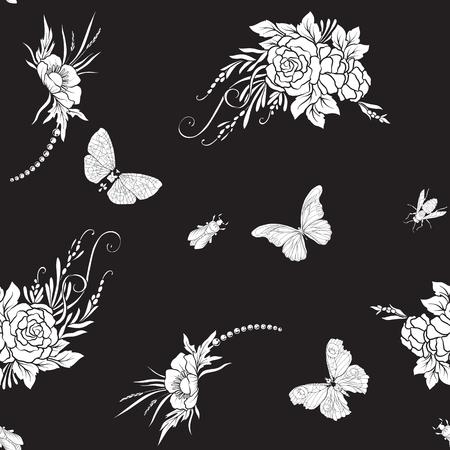 Motivo floreale con farfalle Archivio Fotografico - 85652062