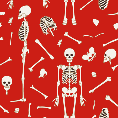 Seamless pattern, background with dancing skeletons. On red background. Stock line vector illustration.
