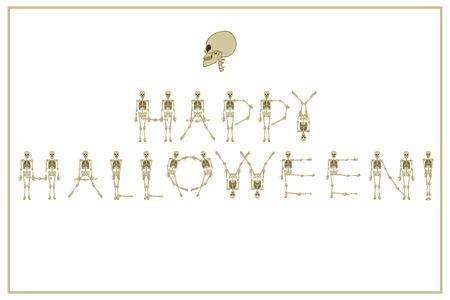 Happy Halloween skeleton lettering.