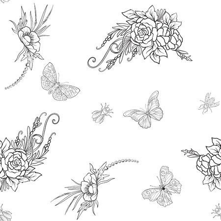 Floral pattern with butterflies Ilustração
