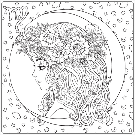 Virgo. A young beautiful girl In the form of one of the signs of Иллюстрация