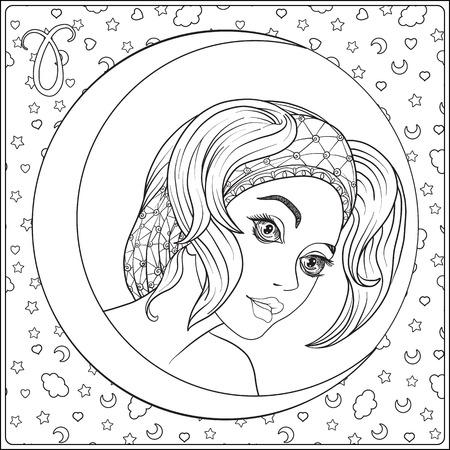 牡羊 座。兆候の一つの形で若い美しい少女  イラスト・ベクター素材