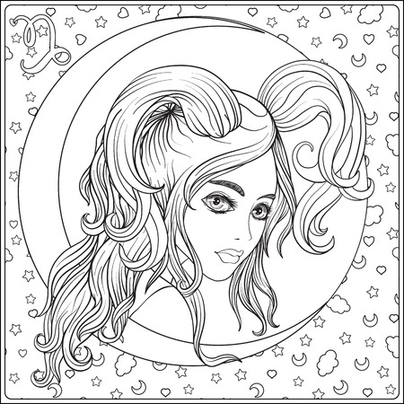 Capricornus. A young beautiful girl In the form of one of the si