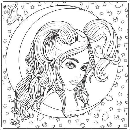 Capricornus. Een jong mooi meisje In de vorm van een van de si Stockfoto