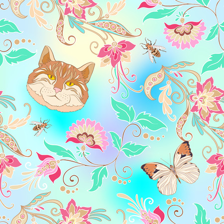 Flowers and pets on pink, blue, vanilla  illustration.
