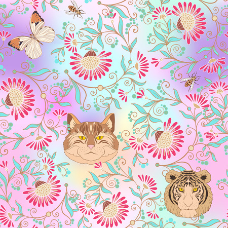 Seamless pattern, background with vintage style flowers and anim
