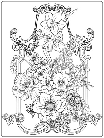 여름 꽃 : 양귀비, 수선화, 말미잘, 바이올렛, 식물학 일러스트