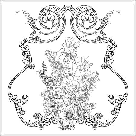 夏の花: ポピー、水仙、アネモネ、バイオレット、植物の s