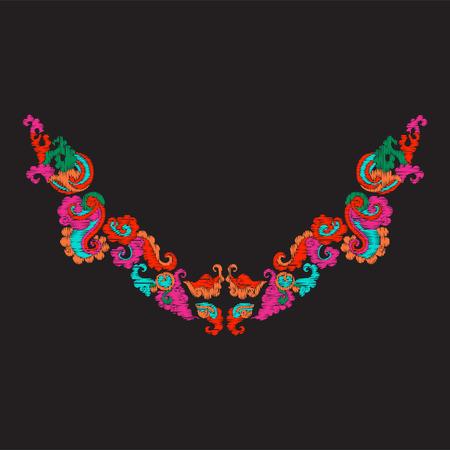 Embroidery neckline with vintage decorative elements Illustration