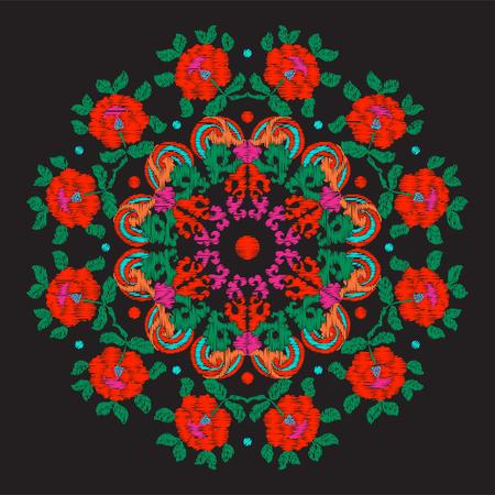 アジアのスタイルで刺繍ヴィンテージ装飾的な要素