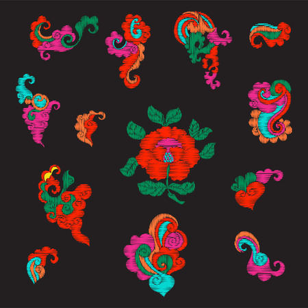 Embroidery vintage decorative elements in asian style Иллюстрация