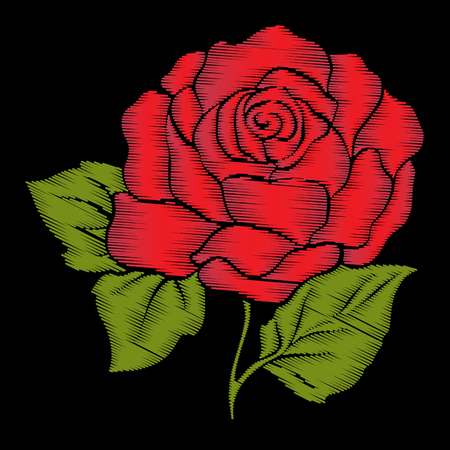 details: Embroidery red rose with green leaves on black background. Stock Illustration