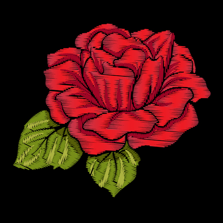 Embroidery red rose with green leaves on black background. Stock Stok Fotoğraf - 85713555