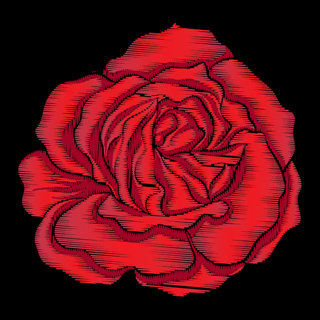 Embroidery red rose on black background. Stock line vector illus