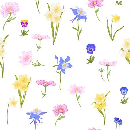 植物のスタイルで花と色の花のシームレスなパターン
