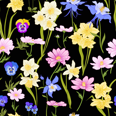 Colored floral seamless pattern with flowers in botanical style