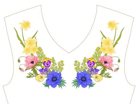 자수. B에서 여름 꽃다발과 수 놓은 디자인 요소