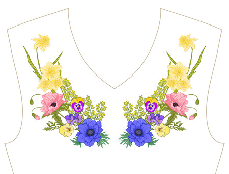 Embroidery. Embroidered design elements with summer bouquet in b