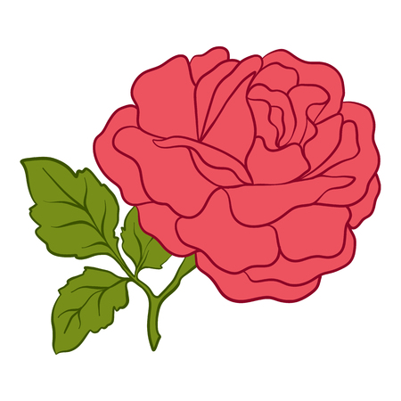 Isolated red rose with green leaves. Stock line vector illustration.