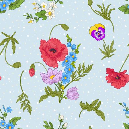 Motif sans couture avec des fleurs de pavot, des jonquilles, des anémones, des violettes en style vintage botanique. Sur fond bleu avec des points de polka blancs. Illustration vectorielle de ligne de stock. Banque d'images - 85718584
