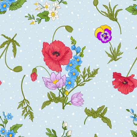 Seamless pattern with poppy flowers, daffodils, anemones, violets in botanical vintage style. On blue background with white polka dots. Stock line vector illustration. Stock Vector - 85718584
