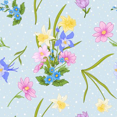 양 귀 비 꽃, 수 선화, 말미 잘, 식물성 빈티지 스타일에서 제비 꽃 원활한 패턴. 흰색 폴카 도트와 파란색 배경에. 주식 라인 벡터 일러스트 레이 션.