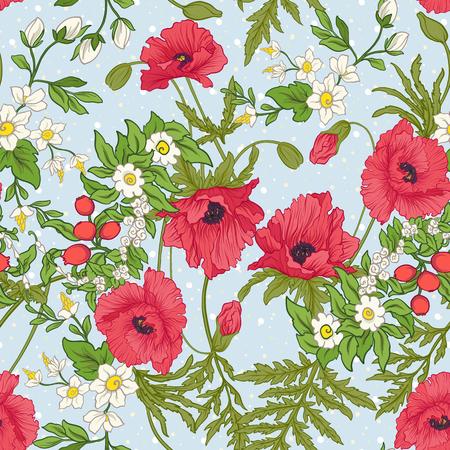 Motif sans couture avec des fleurs de pavot, des jonquilles, des anémones, des violettes en style vintage botanique. Sur fond bleu avec des points de polka blancs. Illustration vectorielle de ligne de stock. Banque d'images - 85718805