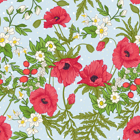 Seamless pattern with poppy flowers, daffodils, anemones, violets in botanical vintage style. On blue background with white polka dots. Stock line vector illustration. Stock Vector - 85718805