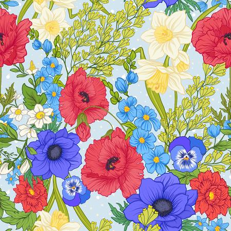 Naadloos patroon met papaverbloemen, gele narcissen, anemonen, viooltjes in botanische uitstekende stijl. Op blauwe achtergrond met witte polka-dots. Voorraad regel vector illustratie. Stock Illustratie