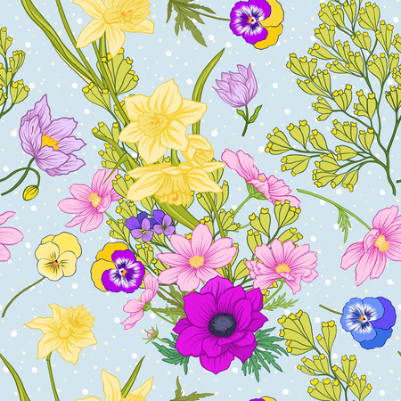 Seamless pattern with poppy flowers, daffodils, anemones, violets in botanical vintage style. On blue background with white polka dots. Stock line vector illustration. Stock Vector - 85718729