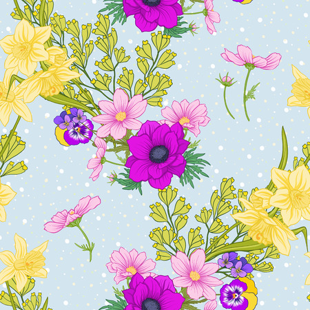 Seamless pattern with poppy flowers, daffodils, anemones, violets in botanical vintage style. On blue background with white polka dots. Stock line vector illustration. Stock Vector - 85719013