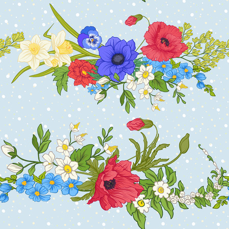 Seamless pattern with poppy flowers, daffodils, anemones, violets in botanical vintage style. On blue background with white polka dots. Stock line vector illustration. Stock Vector - 85719014