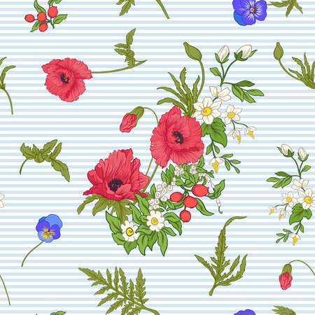 Seamless pattern with poppy flowers, daffodils, anemones, violets in botanical vintage style. On blue and white stripes background . Stock line vector illustration. Ilustracja