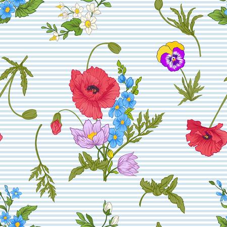 Modèle sans couture avec des fleurs de pavot, des jonquilles, des anémones, des violettes dans un style vintage botanique. Sur fond de rayures bleues et blanches. Illustration vectorielle de stock ligne. Banque d'images - 85719016