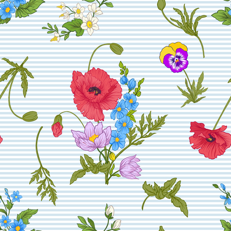 Seamless pattern with poppy flowers, daffodils, anemones, violets in botanical vintage style. On blue and white stripes background . Stock line vector illustration. Stock Vector - 85719016
