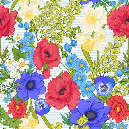 Modèle sans couture avec des fleurs de pavot, des jonquilles, des anémones, des violettes dans un style vintage botanique. Sur fond de rayures bleues et blanches. Illustration vectorielle de stock ligne.